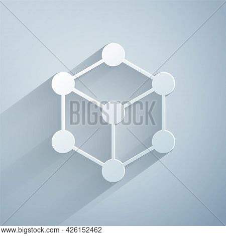 Paper Cut Molecule Icon Isolated On Grey Background. Structure Of Molecules In Chemistry, Science Te