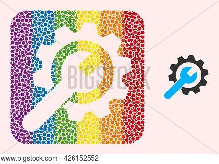 Dotted Mosaic Service Wheel Stencil Pictogram For Lgbt. Colorful Rounded Square Mosaic Is Around Ser