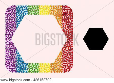 Dot Mosaic Rounded Hexagon Subtracted Pictogram For Lgbt. Colorful Rounded Rectangle Mosaic Is Aroun