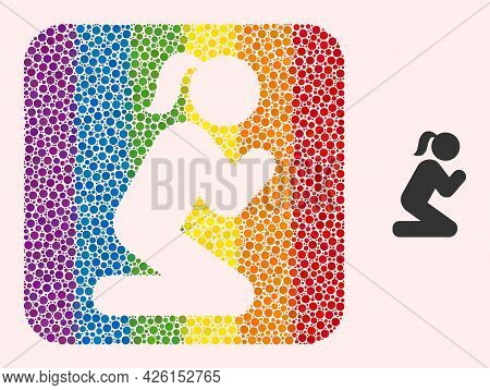 Dotted Mosaic Praying Girl Stencil Pictogram For Lgbt. Rainbow Colored Rounded Rectangle Mosaic Is A