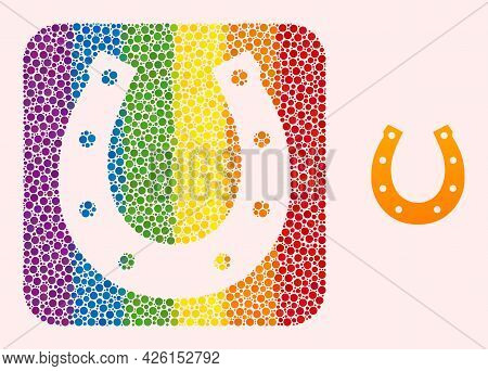 Dotted Mosaic Lucky Horseshoe Carved Pictogram For Lgbt. Colorful Rounded Square Mosaic Is Around Lu