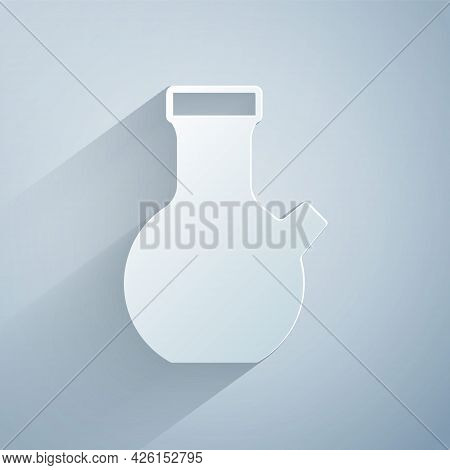 Paper Cut Test Tube And Flask Chemical Laboratory Test Icon Isolated On Grey Background. Laboratory