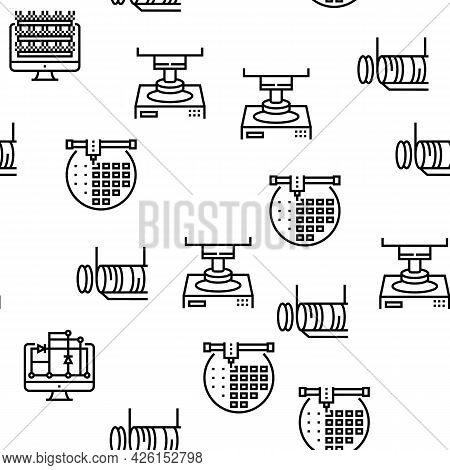 Semiconductor Manufacturing Plant Seamless Pattern Thin Line Illustration
