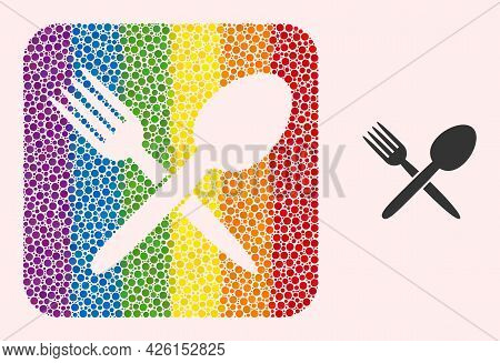 Dot Mosaic Spoon And Fork Carved Pictogram For Lgbt. Color Rounded Rectangle Mosaic Is Around Spoon