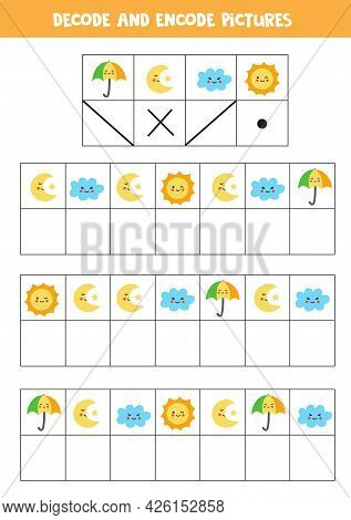 Decode And Encode Pictures. Logical Game With Cute Weather Elements.