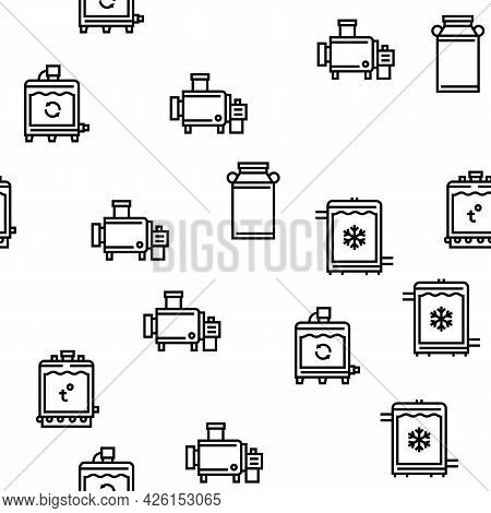 Cheese Production Vector Seamless Pattern Thin Line Illustration