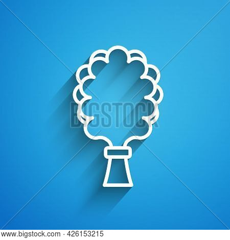 White Line Sauna Broom Icon Isolated On Blue Background. Broom From Birch Twigs, Branches For Russia