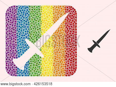 Dotted Mosaic Sword Hole Icon For Lgbt. Color Rounded Square Mosaic Is Around Sword Hole. Lgbt Spect