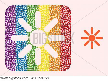 Dotted Mosaic Sun Rays Stencil Icon For Lgbt. Rainbow Colored Rounded Rectangle Mosaic Is Around Sun