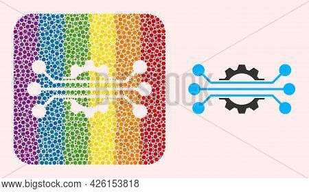 Dot Mosaic Hitech Industry Hole Icon For Lgbt. Color Rounded Square Mosaic Is Around Hitech Industry