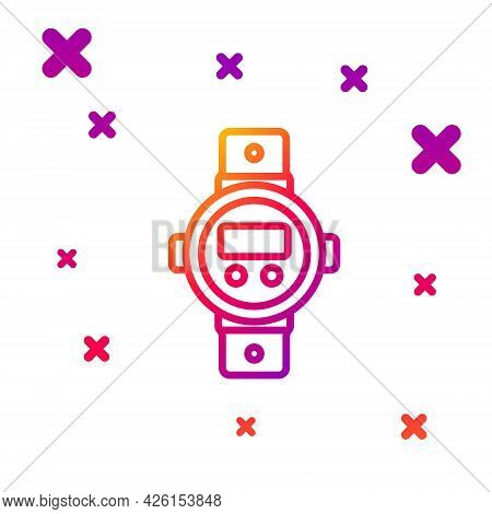 Color Line Diving Watch Icon Isolated On White Background. Diving Underwater Equipment. Gradient Ran