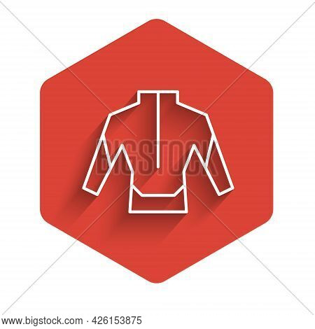 White Line Wetsuit For Scuba Diving Icon Isolated With Long Shadow. Diving Underwater Equipment. Red
