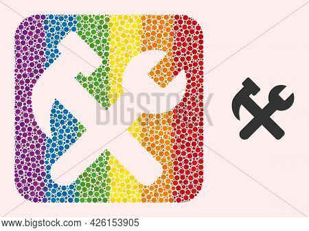 Dotted Mosaic Hammer And Wrench Stencil Pictogram For Lgbt. Colored Rounded Square Mosaic Is Around