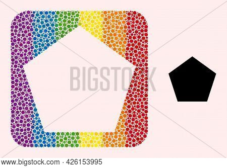 Dot Mosaic Pentagon Subtracted Pictogram For Lgbt. Color Rounded Square Mosaic Is Around Pentagon Su