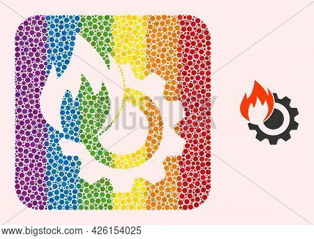 Dotted Mosaic Hot Gear Carved Icon For Lgbt. Color Rounded Rectangle Mosaic Is Around Hot Gear Carve
