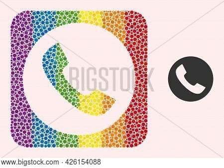 Dot Mosaic Phone Stencil Pictogram For Lgbt. Rainbow Colored Rounded Rectangle Mosaic Is Around Phon