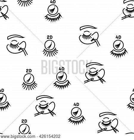 Eyelashes Extension Vector Seamless Pattern Thin Line Illustration