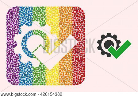 Dot Mosaic Valid Gear Subtracted Pictogram For Lgbt. Rainbow Colored Rounded Square Mosaic Is Around
