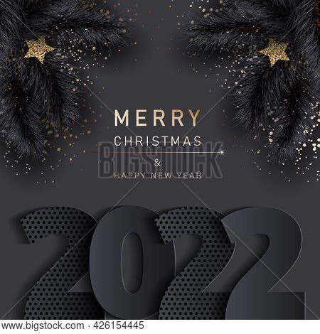 Glamorous Christmas banner with fir black branches. Merry christmas and happy new year banner 2022.Christmas background. Merry Christmas card with gold snowflakes vector Illustration. Merry Christmas card vector Illustration.Christmas. Christmas Vector.