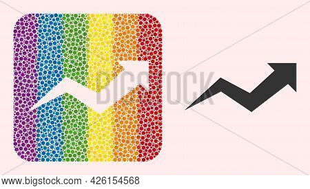 Dotted Mosaic Growing Arrow Chart Subtracted Icon For Lgbt. Rainbow Colored Rounded Rectangle Collag