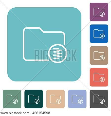 Zipped Directory White Flat Icons On Color Rounded Square Backgrounds