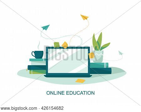 Online Education Concept, Laptop, Book. E-learning. Online Education At Home