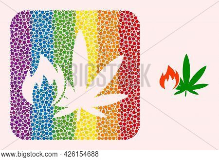 Dotted Mosaic Hot Cannabis Stencil Pictogram For Lgbt. Colorful Rounded Square Mosaic Is Around Hot