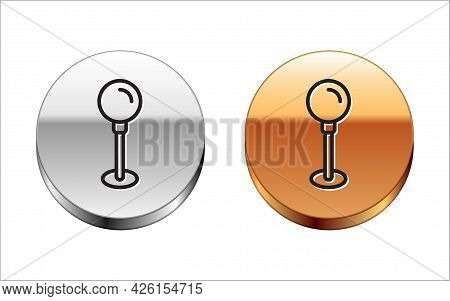 Black Line Push Pin Icon Isolated On White Background. Thumbtacks Sign. Silver-gold Circle Button. V