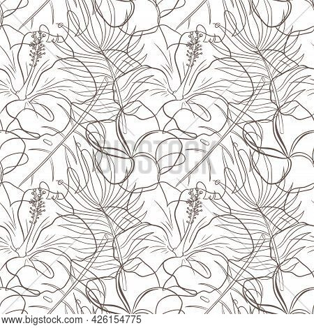 Abstract Floral Tropical Seamless Pattern Line Art. Rainforest Plants Ornament For Background, Backd