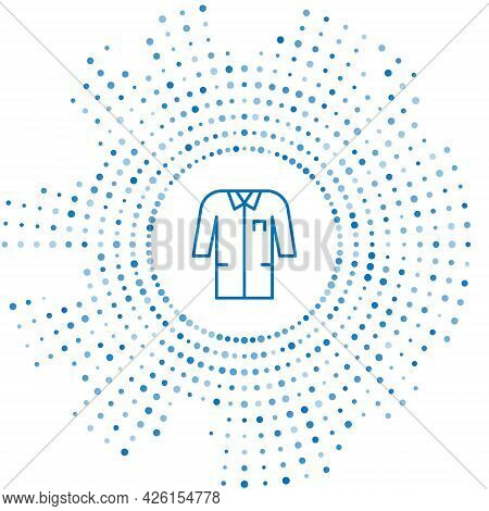 Blue Line Laboratory Uniform Icon Isolated On White Background. Gown For Pharmaceutical Research Wor