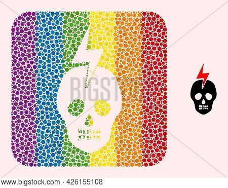 Dot Mosaic Mortal Electricity Stencil Pictogram For Lgbt. Multicolored Rounded Rectangle Mosaic Is A
