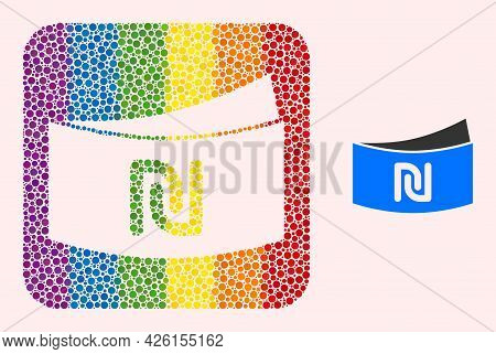 Dot Mosaic Shekel Banknote Subtracted Pictogram For Lgbt. Rainbow Colored Rounded Square Mosaic Is A