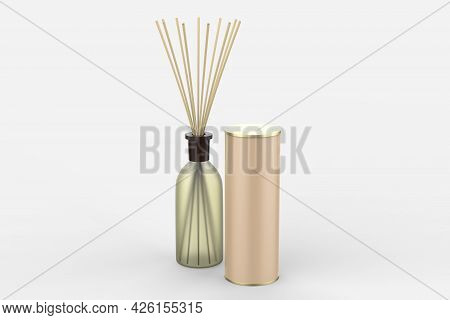 Wooden Aroma Sticks In Glass Jar Glyph Icon. Liquid Perfume Oil Black Silhouette. Essential Air Frag