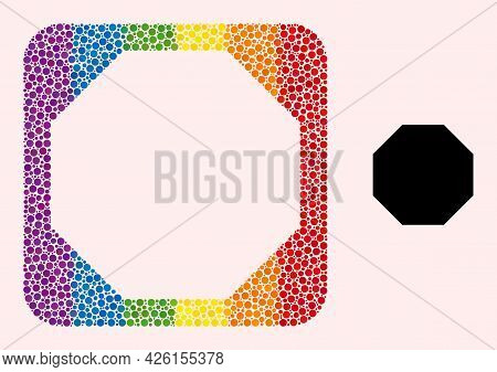 Dot Mosaic Octagon Stencil Pictogram For Lgbt. Multicolored Rounded Rectangle Mosaic Is Around Octag