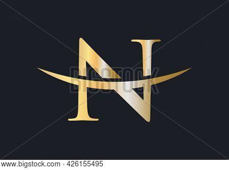 Initial Gold N Letter Logo Design. N Logo Design Vector Template