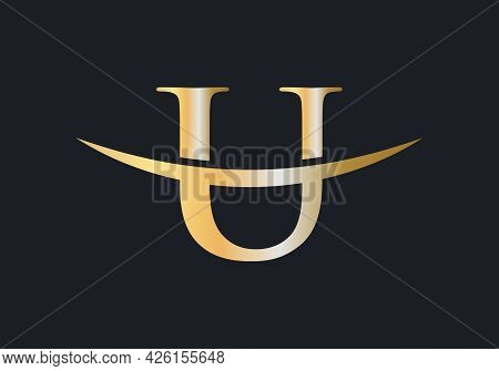 Initial Gold U Letter Logo Design. U Logo Design Vector Template