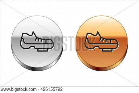 Black Line Triathlon Cycling Shoes Icon Isolated On White Background. Sport Shoes, Bicycle Shoes. Si
