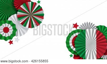 Italy Flag Paper Fan Background. Italian Holiday Celebration Banner. 3d Render