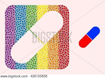 Dot Mosaic Medical Pill Subtracted Pictogram For Lgbt. Rainbow Colored Rounded Rectangle Mosaic Is A