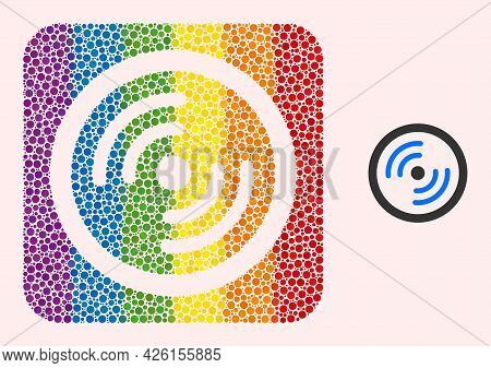 Dotted Mosaic Rotor Rotation Carved Pictogram For Lgbt. Rainbow Colored Rounded Rectangle Mosaic Is