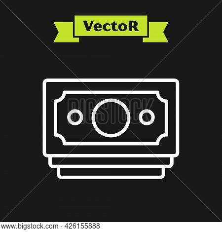 White Line Stacks Paper Money Cash Icon Isolated On Black Background. Money Banknotes Stacks. Bill C