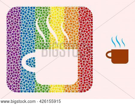 Dot Mosaic Hot Tea Cup Hole Pictogram For Lgbt. Colored Rounded Square Mosaic Is Around Hot Tea Cup