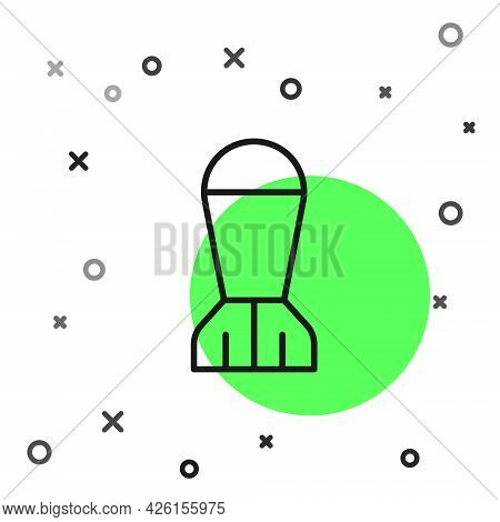 Black Line Aviation Bomb Icon Isolated On White Background. Rocket Bomb Flies Down. Vector