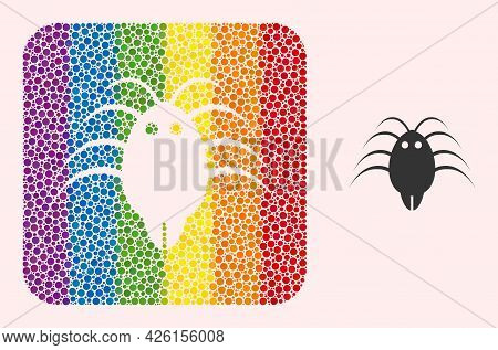 Dot Mosaic Parasite Hole Icon For Lgbt. Rainbow Colored Rounded Square Mosaic Is Around Parasite Sub