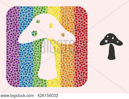 Dot Mosaic Toxic Mushroom Hole Pictogram For Lgbt. Multicolored Rounded Square Mosaic Is Around Toxi