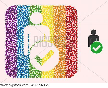 Dotted Mosaic Valid Man Figure Stencil Pictogram For Lgbt. Rainbow Colored Rounded Rectangle Mosaic