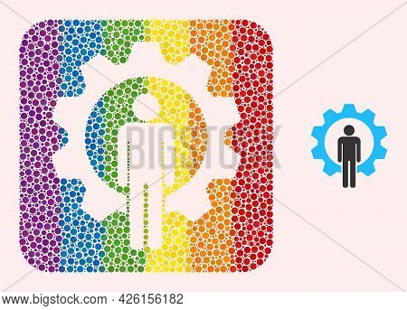 Dot Mosaic Human Resources Hole Pictogram For Lgbt. Multicolored Rounded Rectangle Mosaic Is Around