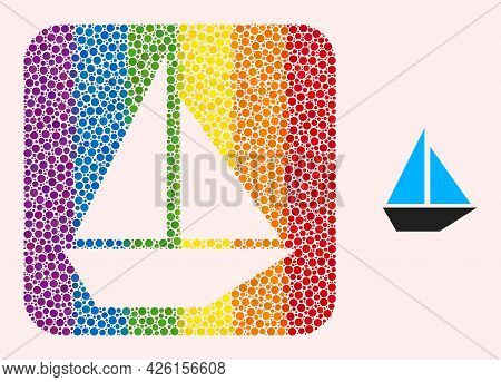 Dotted Mosaic Yacht Stencil Icon For Lgbt. Colorful Rounded Rectangle Mosaic Is Around Yacht Stencil