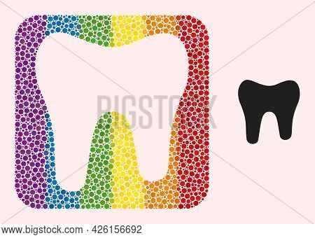 Dot Mosaic Tooth Hole Icon For Lgbt. Rainbow Colored Rounded Square Mosaic Is Around Tooth Carved Sh