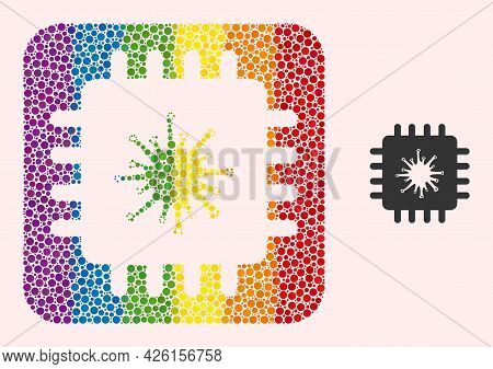 Dotted Mosaic Infected Chip Subtracted Pictogram For Lgbt. Colorful Rounded Rectangle Mosaic Is Arou